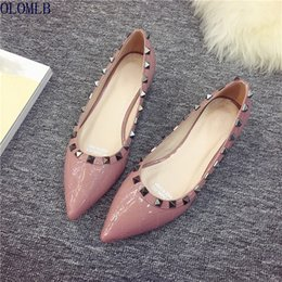 Wholesale Women s Heel Shoes Rivet Bright Pointed Shoes Shallow Mouth Low Heeled Woman Comfort Women Shoe Ladies Pumps