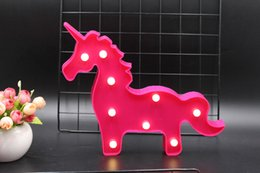 $enCountryForm.capitalKeyWord NZ - Novelty 2019 Cute 3D Marquee Unicorn Night Light Plastic LED Lamp Kids Baby Children Room Bedroom Bedside Lamp Party Wedding Decor Lighting