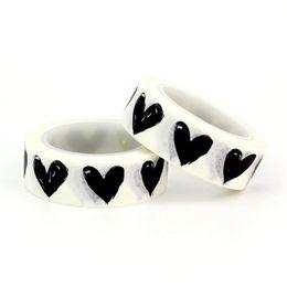 $enCountryForm.capitalKeyWord Australia - 2pc Black White Heart Diamond Washi Tapes Japanese Paper DIY Planner Masking Tape Adhesive Tapes Stickers Decor Stationery 2016