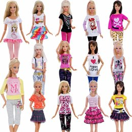 1 PCS Handmade Fashion Outfit Short Dress Cartoon Cute Pattern T-shirt  Leggings Trousers Accessories Clothes For Barbie Doll Toy 43850444aaed