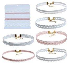 Wholesale Pendant Sets NZ - 6Pcs Set Women Lace Necklace Choker Fashion Necklace Classic Collar Pendant Lady Dress Accessories LLA107