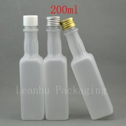 Oil Container Plastic NZ - 200ml x 30 empty frosting white refillable bottle wine   olive oil container with white plastic silver   gold aluminum screw cap