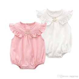 $enCountryForm.capitalKeyWord Australia - New Design Stylish INS Infant Toddler Girls Rompers Summer Flying Sleeveless Pink & White back Ruffles Bow Tie Collar Newborn Jumpsuits 0-1T