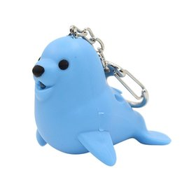 plastic lions NZ - Lovely LED Sound Sea Lion Pendant Keychain Decor Key Ring Chain Hanging Ornament