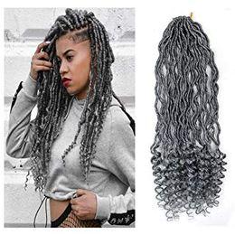 Synthetic wavy braiding hair online shopping - Inch Gray Goddess Locs Crochet Braids Gray Wavy Faux Locs Crochet Hair Curly Ends Dreadlocks Synthetic Braiding Hair Extensions