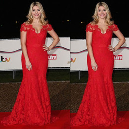 Celebrity Occasions Dresses Canada - 2019 Plus Size Prom Dresses Red Lace Cap Sleeves Mermaid Trumpet Celebrity Evening Party Gowns For Special Occasion Women Maxi Wholesale