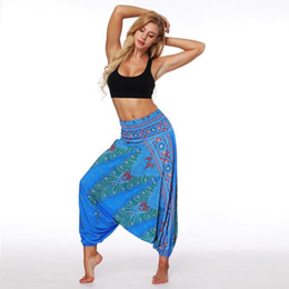$enCountryForm.capitalKeyWord UK - NEW 2019 European and American Women's PolyeWear Indonesian National Style Digital Printed Belly Dance Broad-legged Lantern Pants Yoga Pants