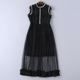 Plus Size Fancy Summer Dresses Australia - 2019 summer Brand designer Dress pearl sleeveless woolen chiffon runway Women Clothes fancy party dress plus size cocktail dress black G8356