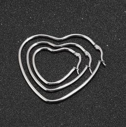 $enCountryForm.capitalKeyWord Australia - Stainless Steel Hypoallergenic Big Round Silver Heart Hoop Earrings For Women 30mm 40mm 50mm Ear Loop Jewelry Gift