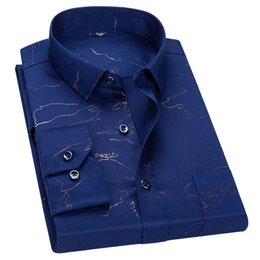 long sleeve collar work dress 2019 - 100% Cotton High Quality Social Men Dress Shirts Printed Long Sleeve Soft Slim Fit Fashion Men Work Wear Smart Casual Sh