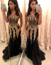$enCountryForm.capitalKeyWord Australia - Sexy Black Tulle And Gold Beads Embellish Mermaid Pageant Prom Dresses Sweetheart 2019 See Through Waist Long Cheap Evening Formal Gowns