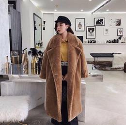 Wholesale faux fur coats long pink woman resale online - Pink Long Teddy Bear Jacket Coat Women Winter Thick Warm Oversized Chunky Outerwear Overcoat Women Faux Lambswool Fur Coats