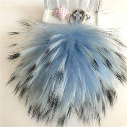"$enCountryForm.capitalKeyWord Australia - 15cm 6"" Soft Sky Blue Real Raccoon Fur Pompom Ball Charm Key Chain Keyring Accessories Phone Purse Handbag(Can Accept Custom)"