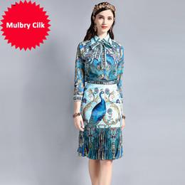 $enCountryForm.capitalKeyWord Australia - Vintage Designer Suit Sets Women's Long Sleeve Bow Collar Blouse Peacock Pattern Print Draped Skirt 2 Piece Set