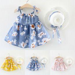 Summer Clothes Uk Australia - UK Cute Sleeveless Kid Girls Floral Summer Party Dress Sundress Hat Clothes 0-3T