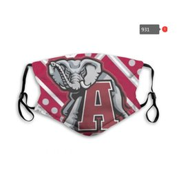 Wholesale NCAA college ALABAMA Dust mask 5 layer activated carbon filer mask waterproof breathable maks M-shaped Nose clip mask 2ND