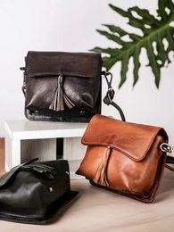 Hand Made Bags Style NZ - 2019Aka original innovative leather small square Baozhou Vintage hand-made first-coat cowhide fringe single shoulder oblique straddle bag