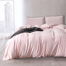 Pink Cotton Bedding Australia - Simple Style 2018 Sale Polyester Cotton Hotel 3Pcs Duvet Cover Set Twin Queen King Duvet Covers Light Pink Home Bedding Set