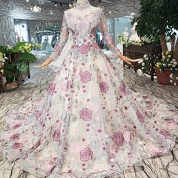 Picture Pattern NZ - 2019 Latest Muslim Long Tulle Sleeve Evening Dresses High Neck Lace Up Back Tassel Chest Multicolor Hand Made Pattern Applique Prom Gowns