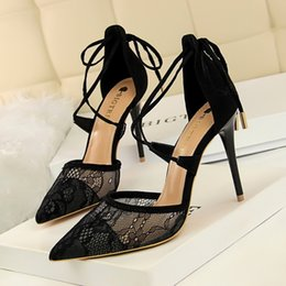 e66ddd8c76901 Woman Shoes Fashion Mesh Lace High Heels Party Women Pumps Sexy Pointed Toe  Stiletto Cross Strappy Ladies Wedding Bridal Shoes