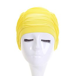 $enCountryForm.capitalKeyWord UK - Women Girls Swimming Cap Hat Hair Earmuffs Anti-UV Nylon Beach Pool Swimming Diving Ruffle Cap Hat