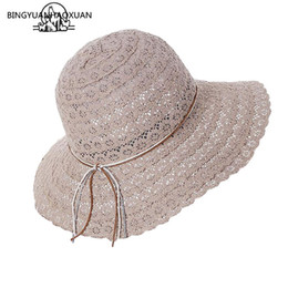 d85876a2f85b1 BINGYUANHAOXUAN 2018 New Bowknot Summer Women s Foldable Wide Large Brim  Elegant Sun Hat Ladies Lace Hollow Straw Beach Caps  47528