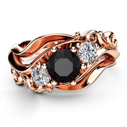 $enCountryForm.capitalKeyWord Australia - New Rose Gold Color Hollow Flower Rings For Women Black White Zircon Engagement Rings Fashion Wedding Jewelry Gifts KY