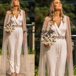 $enCountryForm.capitalKeyWord NZ - Modern Jumpsuit Wedding Dresses with Wrap V Neck Sash Ankle Length Country Bridal Gowns Satin Customized Plus Size Wedding Dress
