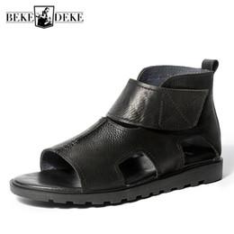 $enCountryForm.capitalKeyWord Australia - Summer Vintage Real Leather Sandals Men British Breathable Teenager Luxury Platform Gladiator Sandals Ankle Boots Beach Shoes