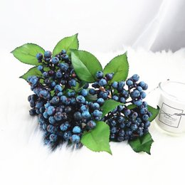 Wholesale 1 Bundle Artificial Blueberry Plant Flower Bud Fake Plants Silk Flower Decorative Wreath Berry For Wedding Home Party Decoration