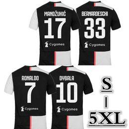 Ingrosso 2019/20 Season Club # 7 RONALDO Soccer Jersey 2019 Home DYBALA PJANIC MANDZUKIC Soccer Shirts BONUCCI D.COSTA taglia: S-5XL