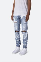 $enCountryForm.capitalKeyWord Australia - Holes Oil Paint Zipper Pencil Pants Designer Skinny Washed Jeans European And American Styles Mens Clothing