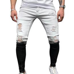 Wholesale men skinny jeans zippers ankle for sale – denim New Jeans Skinny Men Gradient Black White Ripped Hole Denim Pantalones Male Autumn Ankle Zipper Pencil Trousers