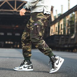 Urban camo clothing online shopping - M XL Mens Cuffed Camo Cargo Pants Style Elastic Waist Loose Camouflage Trousers Ankle Length Urban Clothing For Men
