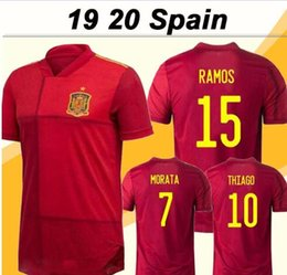 China 2019 20 spain soccer jersey home camiseta de fútbol SERGIO A.INIESTA koke ramos isco football uniforms mens and kids kit shirts supplier football soccer uniform kids suppliers
