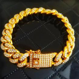 Gold 18k Shop Australia - Luxury 12mm Gold Silver Hip Hop Mens Women Rhinestone Miami Cuban Chain Lock Clasp Bracelet & Bangles Rock Jewelry Drop Shopping