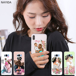 Iphone case metal gIrl online shopping - Phone Cases Silicone soft Cover for Samsung S10 S9 S8 S7 S6 Plus Edge E Note Pro case Brown Hair Baby Mom Girl