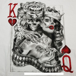 poker t shirts Australia - Men's King & Queen Of Hearts T-Shirt S-3XL Tattoo Sugar Skull Poker Playing CardFunny free shipping Unisex Casual Tshirt