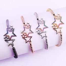 $enCountryForm.capitalKeyWord Australia - 10Pcs Fashion Women Bracelets Micro Pave Rainbow CZ Star Connector Braided Macrame Charm Bracelets Jewelry Gift