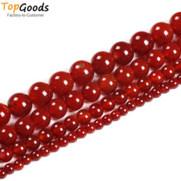 Silver Red Carnelian Australia - TopGoods Natural Stone Beads Red Agate Round Loose Onyx Design Bracelet 4 6 8 10 12 14mm Carnelian Beads for Jewelry Making