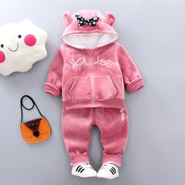 $enCountryForm.capitalKeyWord Australia - Girls Clothes Sets Autumn Winter Children Fashion Thick Velvet Hoodies+Pants 2pcs Tracksuits For Baby Girls Kids Warm Outfits Christmas Suit