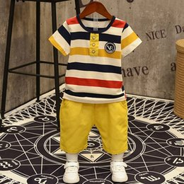 kids shorts pants for summer Canada - 2020 new Baby Boys clothes set cotton short sleeve T-shirt Top+Shorts pant 2PCS 3-7T kids Clothing suit for boy children summer T200526