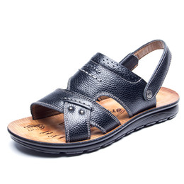 branded sandals men 2019 - Famous brand breathable non-slip spring and summer leather casual beach sandals leather thick bottom sandals and slipper