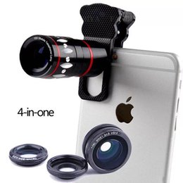Wholesale 4 in Universal Clamp Lens Wide Angle Lens Macro x Optical Zoom Clip Telephoto Clamp Clip camera cat eyes For Cell phone