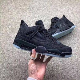 ae586012568d 2019 Original KAWS x 4 Black Cool Grey 4S IV Basketball Shoes For Men  Authentic Sneakers Suede With Box 930155-001 930155-003 Wholesale