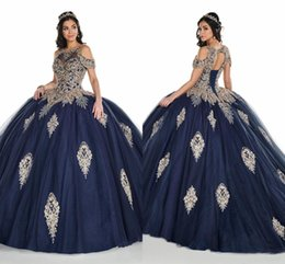 Short royal blue Sweet 16 dreSSeS online shopping - Luxury Gold Crystal Beaded Applique Prom Ball Gowns Sweet Dresses Cold Shoulder Draped Tulle Corset Back Quinceanera Dress