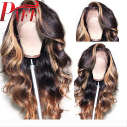 blonde body wave full lace UK - PAFF Highlight Blonde Full Lace Human Hair Wigs With Baby Hair Ombre Body Wave Peruvian Remy Hair Wig Pre Plucked Side Part