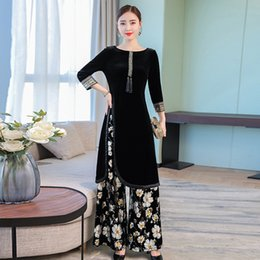 $enCountryForm.capitalKeyWord NZ - Autumn Winter New Ukraine Large Size Flower Printing Women Two-piece Dress Wide Leg Pants High Quality Slim Set Female Vestidos