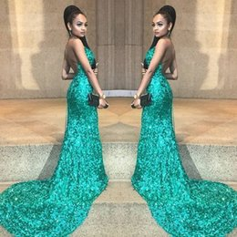 New fashioN special occasioN dresses online shopping - Sexy Green New Mermaid Evening Dresses Halter Neck Sequined Backless Sweep Train special occasion dresses evening wear gowns