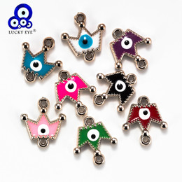 $enCountryForm.capitalKeyWord Australia - Lucky Eye Crown Charms Colorful Evil Eye Connector Pendants For Diy Necklaces Bracelet Jewelry Accessories Findings CCB EY6123